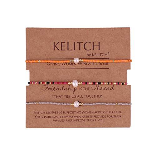 KELITCH Armbänder Damen Herren Japanisch Rocailles Perlen 3 Pcs Freundschaftsarmbänder Shell Perle Einstellbar Handarbeit Paar Armband Armband Frauen Männer (L)