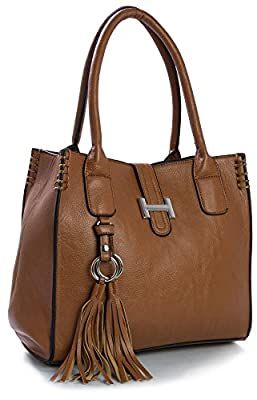 Big Handbag Shop Womens Vegan Leather Medium Size Top Handle Satchel Shoulder Bag in Various Design