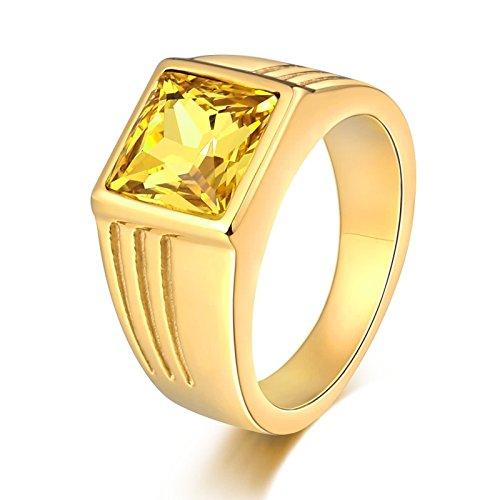 Blisfille Goldring Herren Gold Ringe Rapper Gothic Punk Herren Ring Gelb Quadratisches Zirkonia Gelb Breite 10 Mm Ringgröße 65 (20.7) Memoir Ring Kostenlos Gravur