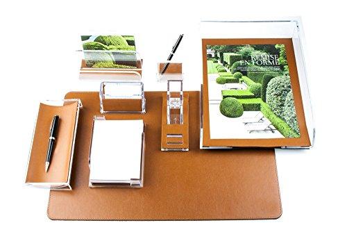 Schreibtisch Set MANHATTAN 8-teilig PREMIUM LEDER BOXCALF cuoiobraun (glatt) -
