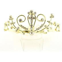 Las niñas cristal/diamante Cruz Comunión Tiara peine peine de pelo/con (G)