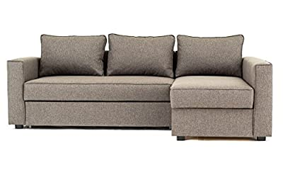 Boston Corner Sofa Bed with Storage in Brown Linen Fabric by Abakus Direct