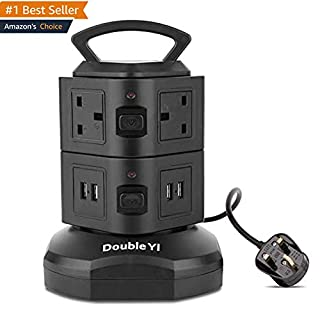 DoubleYI Extension Lead 4-USB Charging Port Surge Protection 6-Socket Extension Tower Power Strip with Retractable 3m/9.8Ft Power Extension Cord Lead and Switch