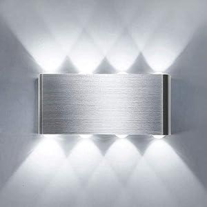 Lightess 8W LED Wandleuchte Innen Kaltweiß Wandlampe Modern Up Down Licht Wandlicht Silber Wandbeleuchtung aus Aluminium Flurlampe Wand Beleuchtung für Wohnzimmer Schlafzimmer Treppenhaus Küche usw.