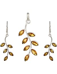 Deistic Stone Yellow Citrine Forever Leaves Pendant Set With Earrings In Sterling Silver For Women & Girls