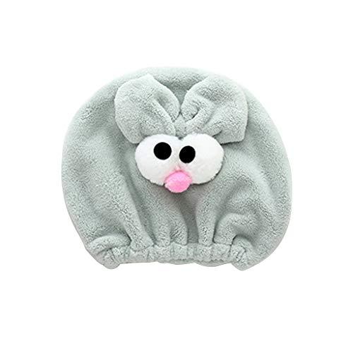 GROOMY Erwachsenes Kind Nette Karikatur-Tierhaar-trocknende Kappe Süßigkeit-Farbe lustige große Augen des Turban-Hut-Tuch-Tuches verdicken das Dehnbare Bad-Duschkopf-Wrap