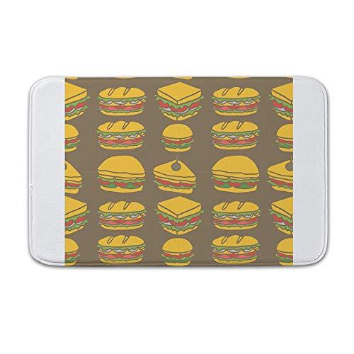 r drinnen und draußen, Fußmatte, süßes Club-Sandwich-Design, nahtloses Muster, Flanell, 15.7