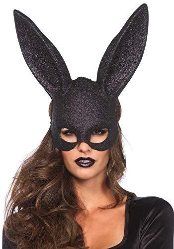 shoperama Verruchte Hasenmaske von Leg Avenue Bunny Halbmaske Schwarz Sexy Kinky Rollenspiele, Farbe:Schwarz mit Glitter