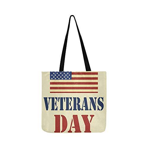 Veterans Day American Flag Leinwand Tote Handtasche Schultertasche Crossbody Taschen Geldbörsen Für Männer Und Frauen Einkaufstasche - Veteran Flag Banner