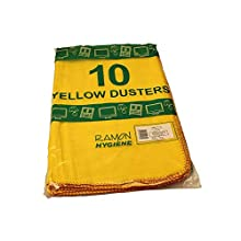 Ramon Hygiene Standard Quality Dusters, 50 x 50 cm, Yellow, Pack of 10 Dusters