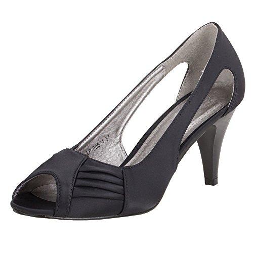 Damen Schuhe PUMPS PEEP TOE HIGH HEELS Schwarz 7haMSv87uR
