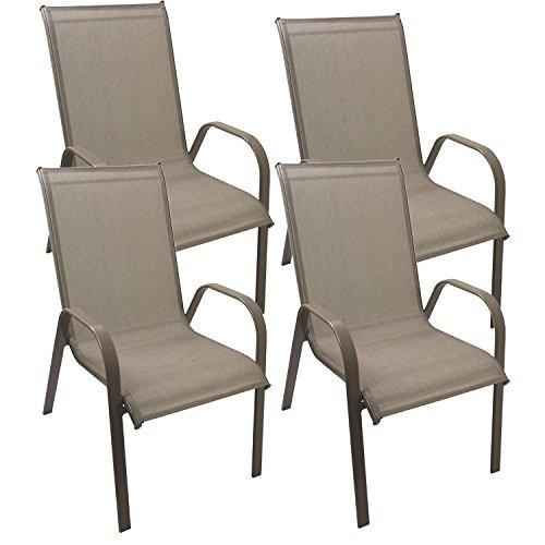 4 Stück Gartenstuhl stapelbar Gartensessel Stapelstuhl Stapelsessel Stahlgestell pulverbeschichtet mit Textilenbespannung Gartenmöbel Terrassenmöbel Balkonmöbel Champagner