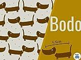 Lillestoff - Bodo Dackel - Jersey grau - bunt - Bio GOTS