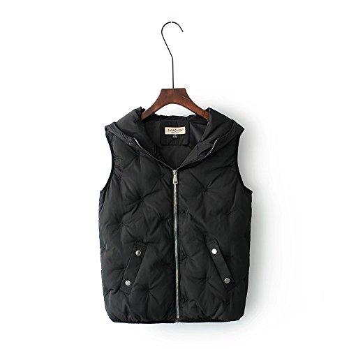 MEI&S Women's Winter Hooded Débardeur long manteau Puffer Cotton-Padded black