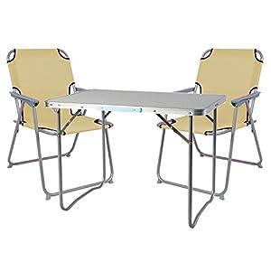 Mojawo  3tlg. Campingmöbel Set Alu Camping L70xB50xH59cm 1x Campingtisch mit Tragegriff + 2 Campingstühle beige Stoff Oxfort