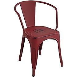 lo+demoda Moskov Vintage - Silla, acero, 141 x 48 x 45 cm, color rojo