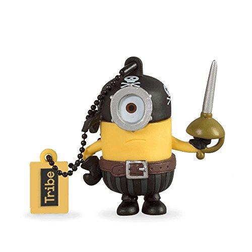 Tribe minions cattivissimo me minion eye matie chiavetta usb da 16 gb pendrive memoria usb flash drive 2.0 memory stick, idee regalo originali, figurine 3d, usb gadget con portachiavi