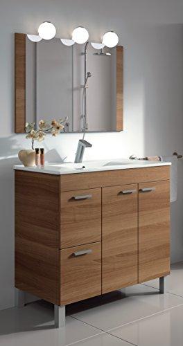 homevanity Aktiva Badezimmerschrank, 2Türen, 2Schubladen, Spiegel und Waschbecken–Walnuss 800 (2 Tür, 2 Schublade Eitelkeit)