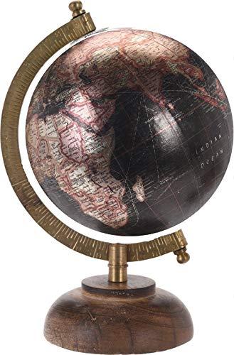 P & K Products KP rétro 23 cm métallique Globes Ornement Globe sur Support  en Bois, Noir