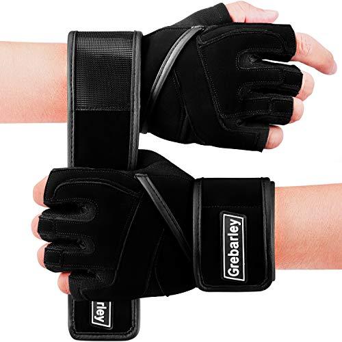 Grebarley Fitness Handschuhe Trainingshandschuhe,Leicht Gewichtheben Ideal zum Gewichtheben,Crossfit Training und Radsportanzug für Damen und Herren (Schwarz, M)