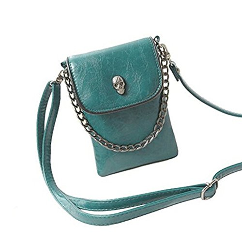 Tinksky Sac à bandoulière gothique Mini bandoulière clouté crâne téléphone portable sac à main (vert foncé)