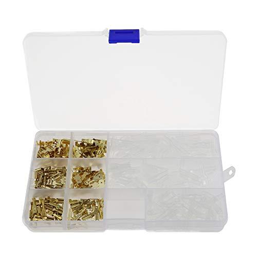 240 Stücke 2,8mm 4,8mm 6,3mm Draht Terminal Crimp Männlich Weiblich Spaten Terminal Block Stecker mit Isolierhülse Sortiment Kit Messing Vergoldet -