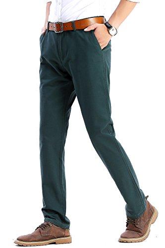 Herren Chino Hose Casual Herbst Winter 100% Baumwolle Stoff Pants Bermuda Regular Fit Freizeitshose von Harrms, 20 Farben, Grösse 29-40 Blaue Grün