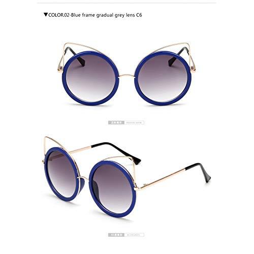 WZYMNTYJ Metallrahmen Cat Eye Frauen Sonnenbrillen Weibliche Sonnenbrillen Berühmte Marke Design Legierungsbeine Gläser