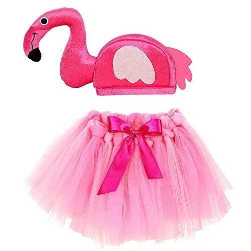 Lively Moments Flamingo Hut & Tütü für Kinder / Vogel Mütze mit Tüllrock / Fasching Kostüm Zubehör / Kinderkostüm / Flamingokostüm
