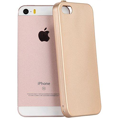 Yokata für iPhone 5 / 5s / SE Hülle Silikon Weich TPU Schutz Handyhülle Schutzhülle Clear Case Backcover Bumper Protective Cover - Rose Gold + 1 x Kapazitive Feder Gold