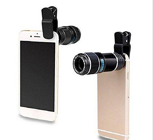 Handy-Kamera Teleobjektiv Kit, 12x HD 30 * 75mm Kunststoff Optisches Glas Teleskop Zoom Objektiv Makroobjektiv Anwendbar Meisten Handys Universal Schwarz (Angeln Wolf-kamera)