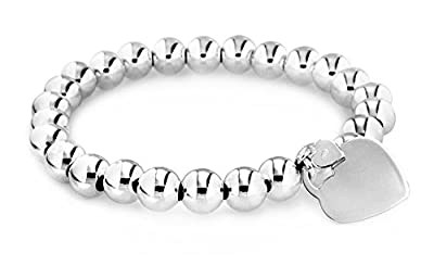 Tuscany 925 Silver Sterling Silver 8 mm Ball and Heart Charm Bracelet of 19 cm/7.5 inch
