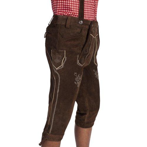 Gaudi-Leathers Herren Trachten Lederhose Kniebund mit Träger in Braun (Dunkelbraun 015), W39 (Herstellergröße: 52) -