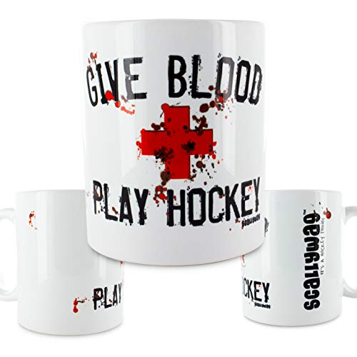 Scallywag® Eishockey Tasse Give Blood Play Hockey I A BRAYCE® Collaboration (Kaffeetasse als Hockey Geschenk)