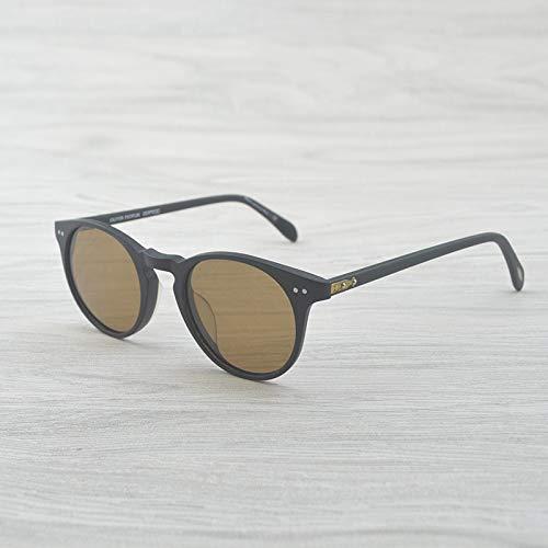 LKVNHP Hohe Qualität Vintage Runde Sonnenbrille Frauen Männer Markendesigner Sonnenbrille Für Männer Sonnenbrille Markendesigner MattschwarzVs Braun