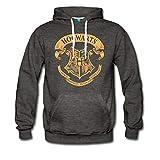 Spreadshirt Harry Potter Hogwarts Wappen Männer Premium Hoodie, S, Anthrazit