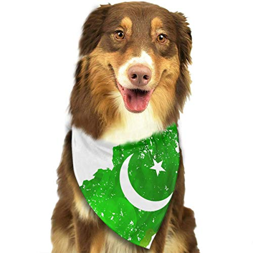 Rghkjlp Pakistan Map for Independence Day Pet Bandana Washable Reversible Triangle Bibs Scarf - Kerchief for Small/Medium/Large Dogs & Cats -