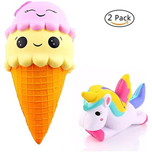 unicornios kawaii URXTRAL 2 PCS Scented Soft Kawaii Cute Squishies Lovely Toys Stress Relieve Apretar Slow Rising Toys (Jumbo Ice Cream & Unicorn), Bonito regalo para niños y adultos