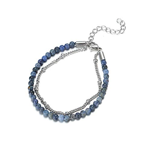 KINGKA - Pulsera con dumortierita (Piedra Natural, 19 cm), Color Azul
