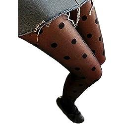 Accesorio Medias Largas Panties Elásticos Con Diseño Encaje A Lunares Para Mujer