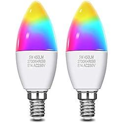 KINGSO 2 Pack Ampoule LED Intelligente WiFi Smart Ampoule Connectée Multicolore RGB E14 C37 5W 450LM Smartphone Contrôle à Distance Ampoule Vocale Compatible avec Amazon Alexa, Google Assistant, IFTTT
