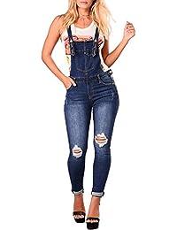 Bmeigo Salopette Donna Jeans - Blu Skinny Overall Lunga Dungarees Jumpsuit  Tuta Denim Taglie Forti 5b722737425