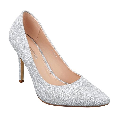 Klassische Damen Glitzer Stilettos Pumps High Heels Plateau Schuhe Spitz 99 (39, Silber)