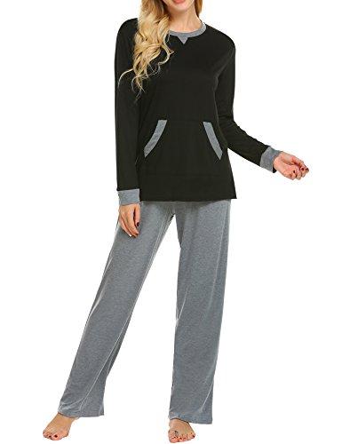 MAXMODA Damen-Pyjama Schlafanzug Nachtwäsche Baumwolle