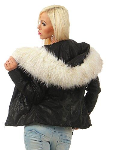 4942 Fashion4Young Damen Winter Jacke Kunstleder Kapuze Webpelz Winterjacke Bikerjacke Lederimitat schwarz-weiss
