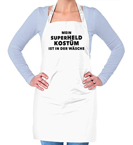 Dressdown Mein Superheld Kostüm Ist in Der Wäsche - Unisex Schürzen Passend Für Erwachsene - Weiß - Eine - Regeln Für Kostüm Bei Der Arbeit