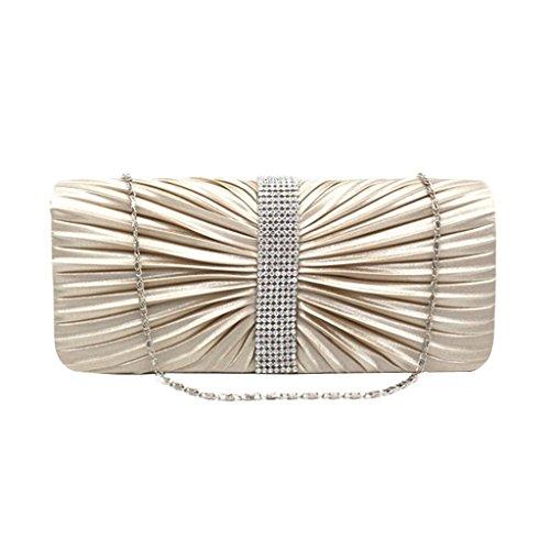 Sharplace Donne Pochette da Giorno Elegante Borsette da Sera Festa di Nozze Partito Cristallo Satinato a Pieghe Decorazione Borsa Albicocca