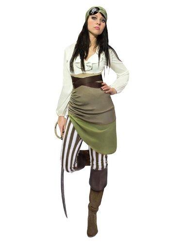 Smiffys Sexy Piraten-Damenkostüm Seeräuberin Grün-Weiss-Braun S