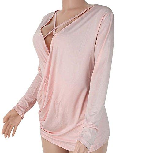 Donne Casuali Manica Lunga Scollo V Camicie Orlo Irregolare Cime Camicetta Maglietta Pink Chiaro