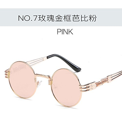 JUNHONGZHANG Metallische Gläser Rundschreiben Sonnenbrillen Creative Sonnenbrille Damen Mode Sonnenbrille, Rose Gold Frame Bobbi Pulver